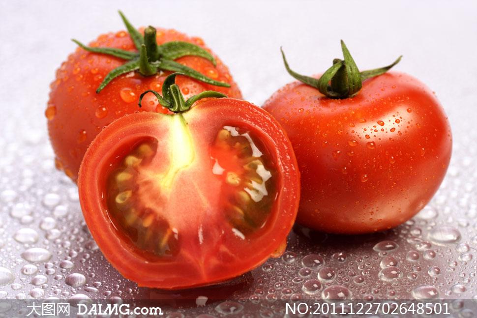 新鲜水灵的西红柿特写高清摄影图片