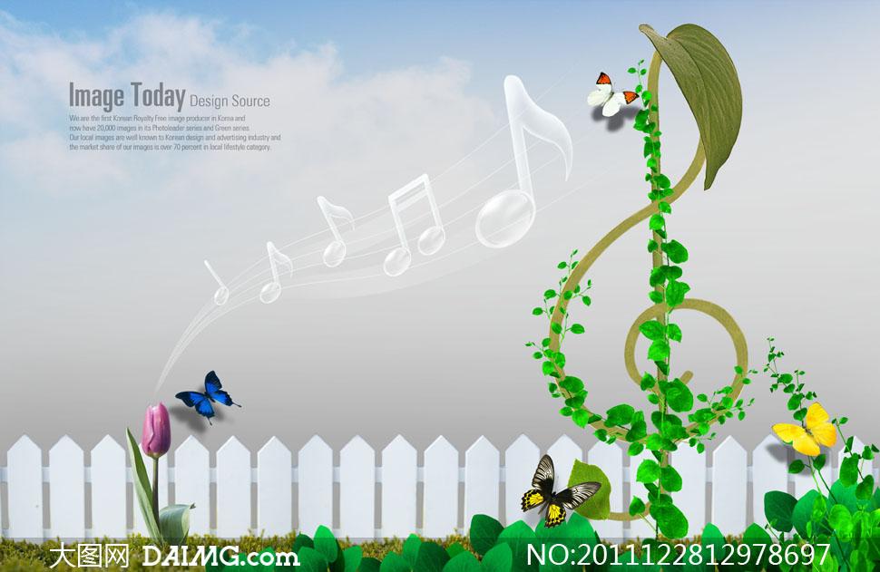 绿色植物篱笆与水晶音符psd分层素材