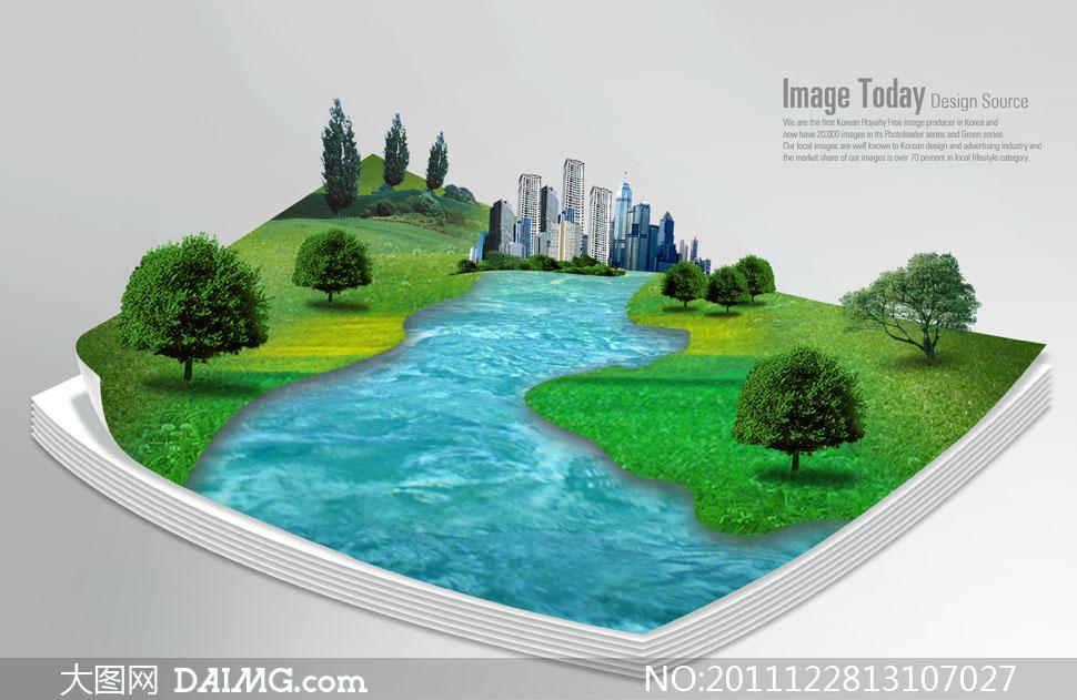 纸上的河流大树建筑物创意psd分层素材