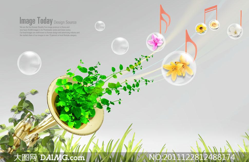 psd分层素材韩国素材创意设计气泡泡泡植物绿色小号草丛鲜花花朵音符
