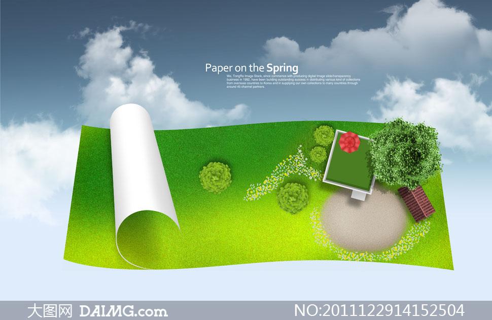 纸张上的草地景观创意设计psd分层素材