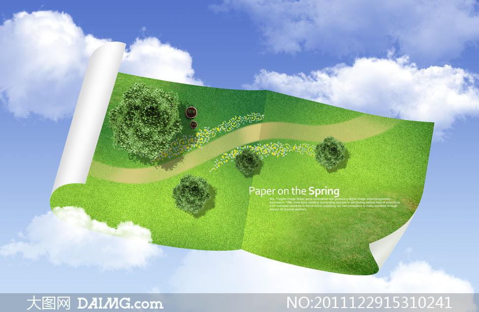 纸卷上的草地树木俯视图psd分层素材