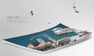 飞鸟与停泊船只的港口PSD分层素材