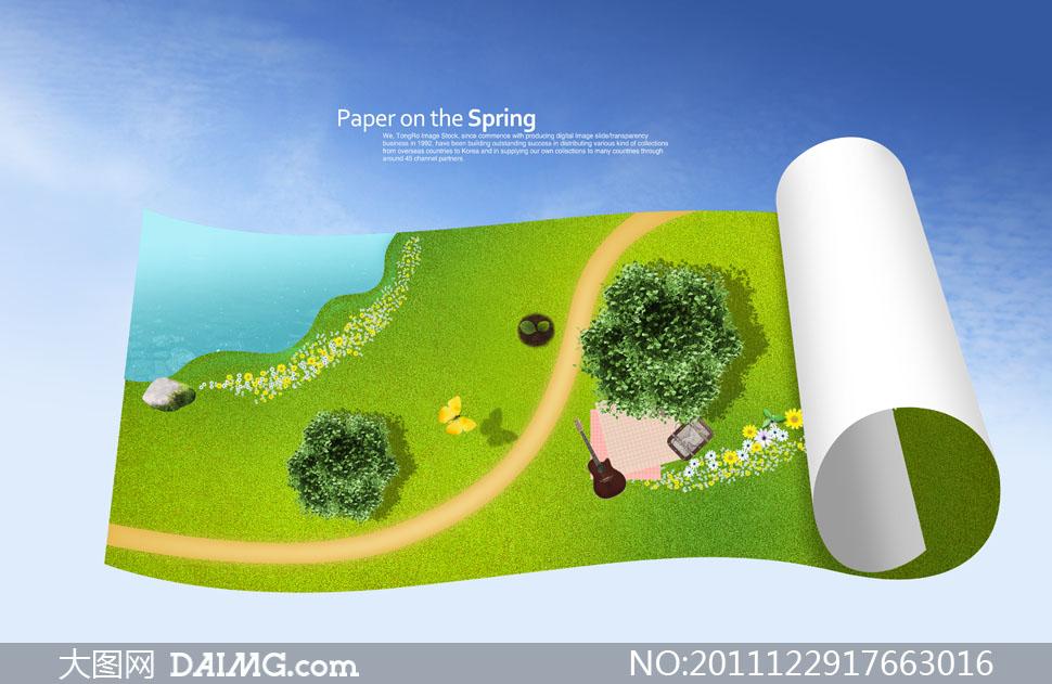 树木树丛纸张卷页卷边俯视图鲜花小花花朵花卉芳草地