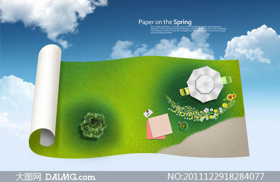 素材蓝天白云云层云彩多云大树树木树丛纸张卷页卷边俯视图鲜花小花