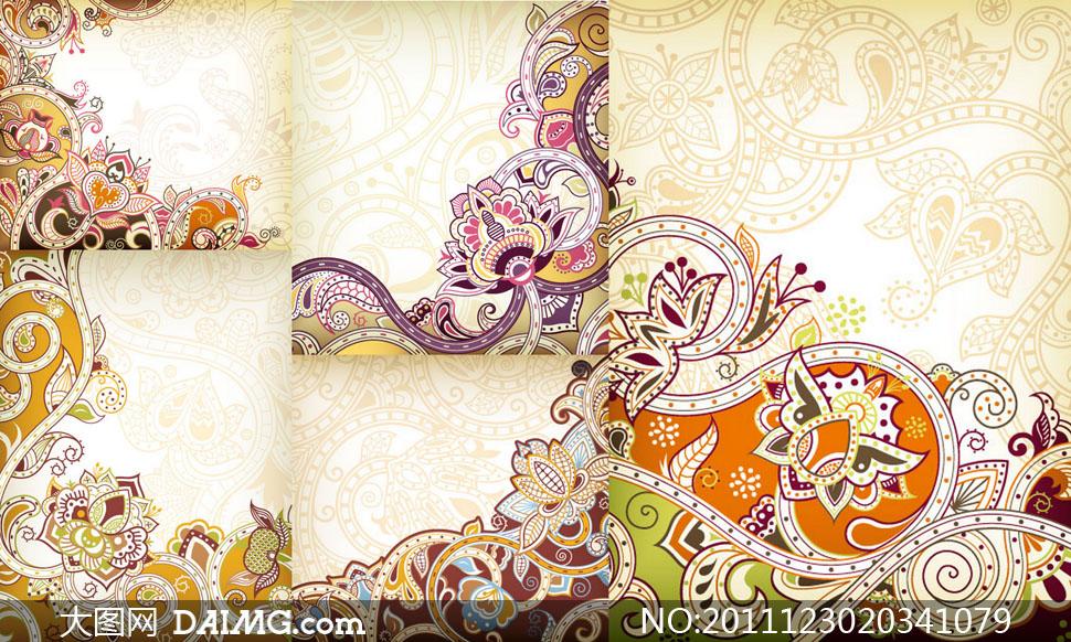 精美涡旋古典花纹图案矢量素材