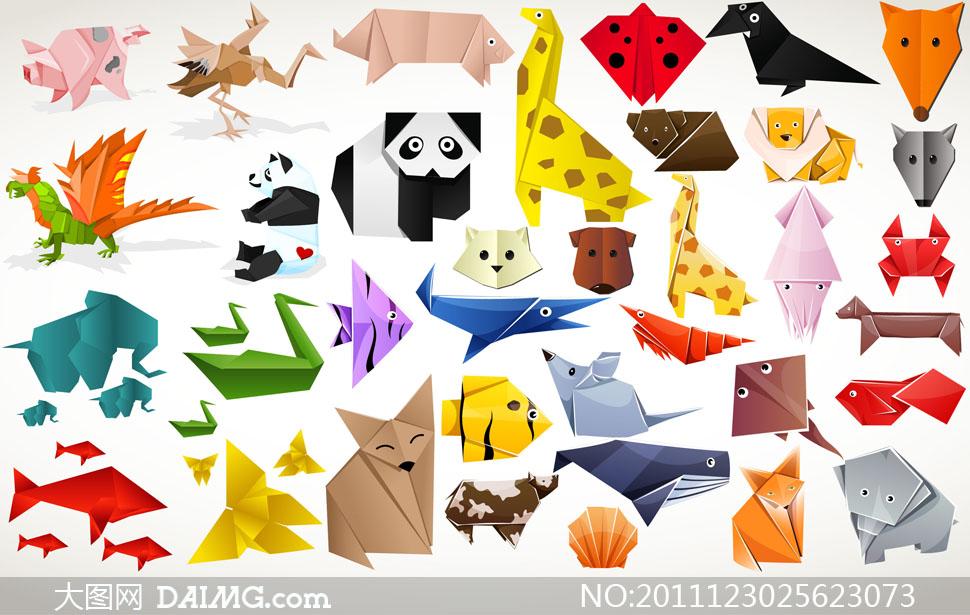 多款可爱动物折纸矢量素材