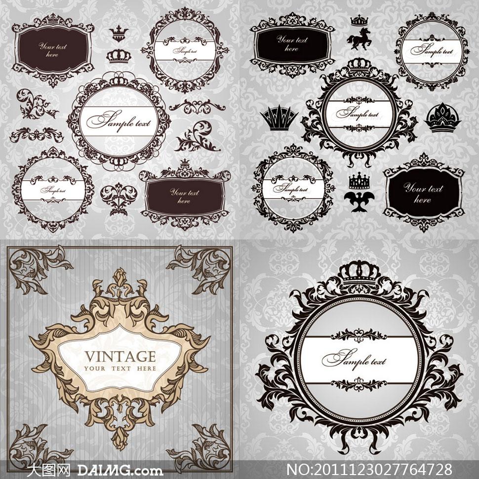 欧式古典花纹装饰边框矢量素材图片