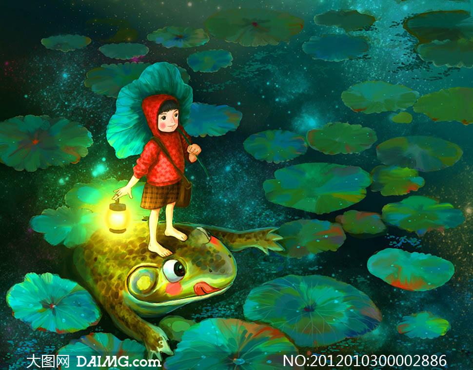 青蛙荷叶女孩冒险卡通绘本手绘艺术油画趣味儿童画