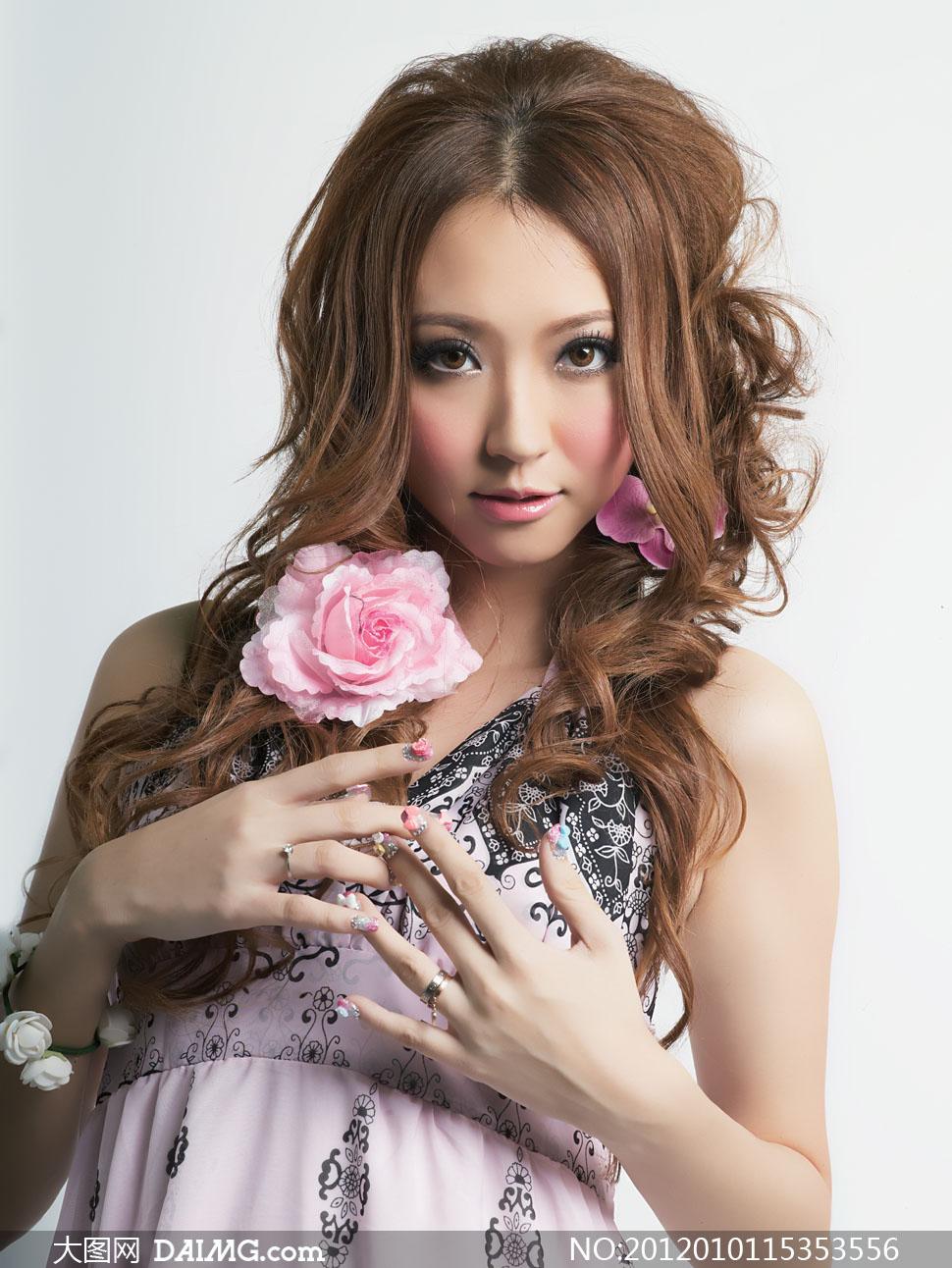 韩式时尚卷发美女模特高清摄影图片 - 大图网设