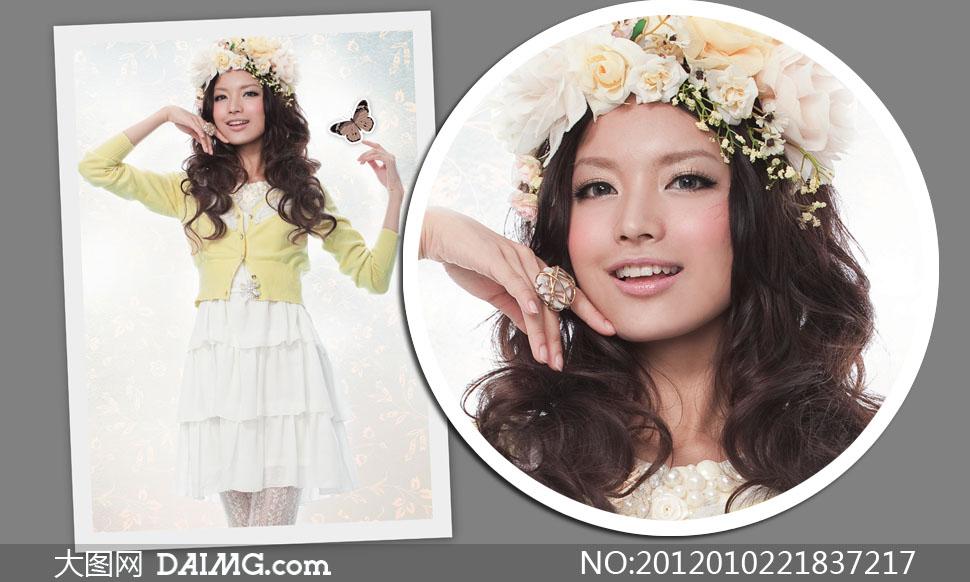 头戴花环的卷发美女人物高清摄影图片