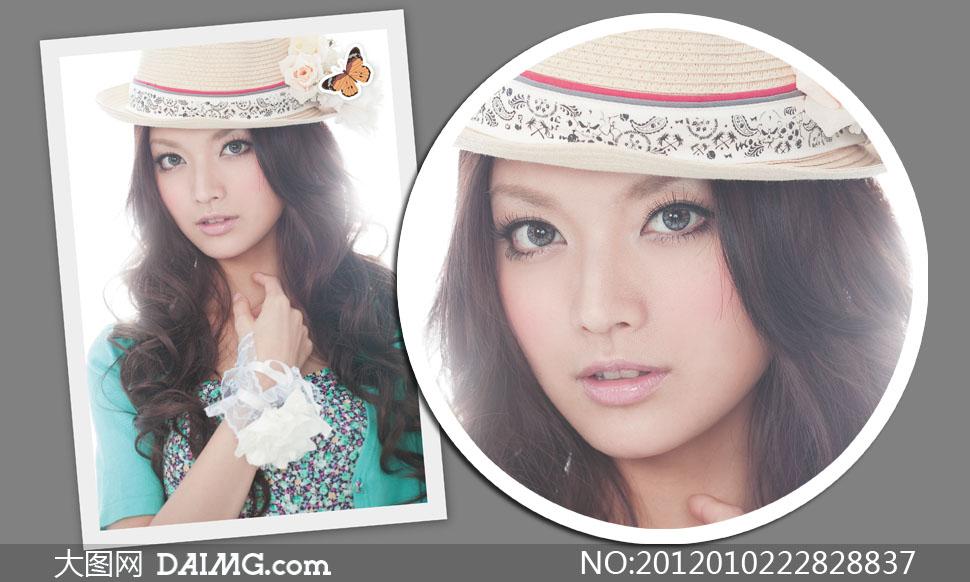 戴着帽子的卷发美女模特人物高清摄影图片