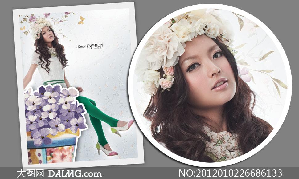 诺曼琦服装卷发美女模特高清摄影图片