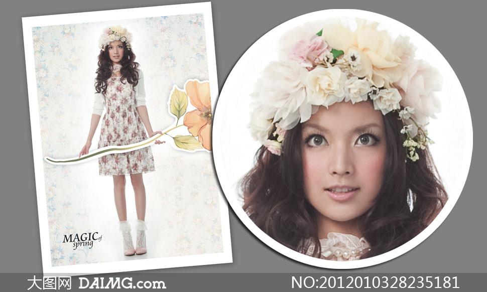 手拿手绘花朵的卷发美女高清摄影图片