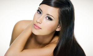 乌黑亮泽秀发美女人物高清摄影图片