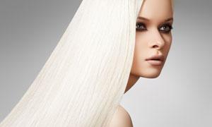 白色披肩长发美女模特人物高清摄影图片