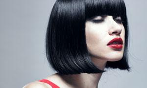 乌黑短发红唇女人高清摄影图片