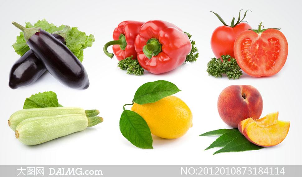 茄子辣椒等蔬菜水果高清摄影图片