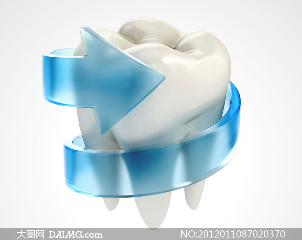 塑料箭头裹着的牙齿创意摄影高清图片