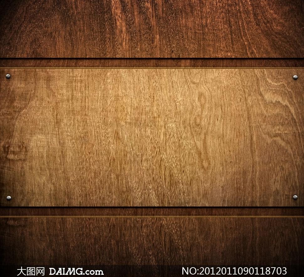 钉上钉子的木板背景高清摄影图片