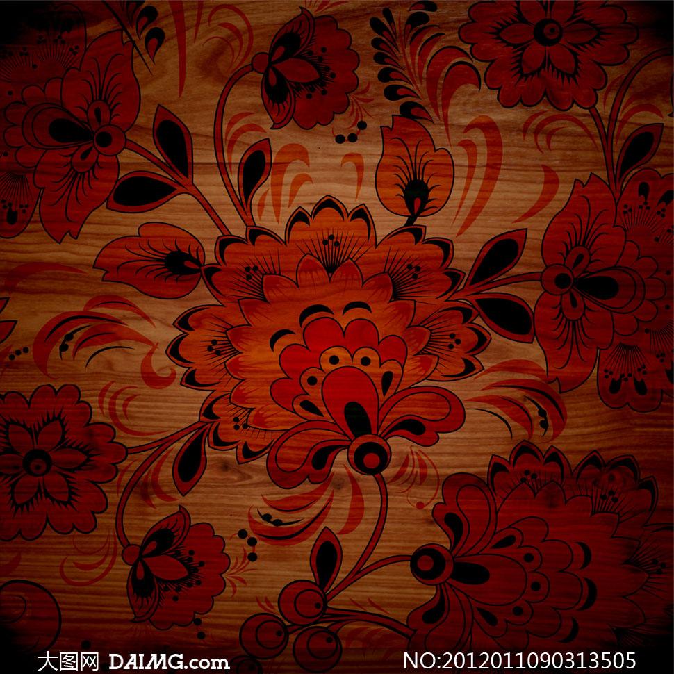 红黑色花纹图案装饰的木板高清摄影图片