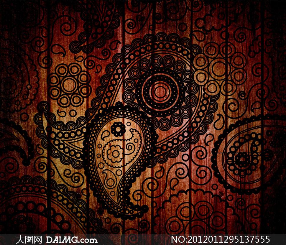 褐红色木板与佩斯利花纹高清摄影图片