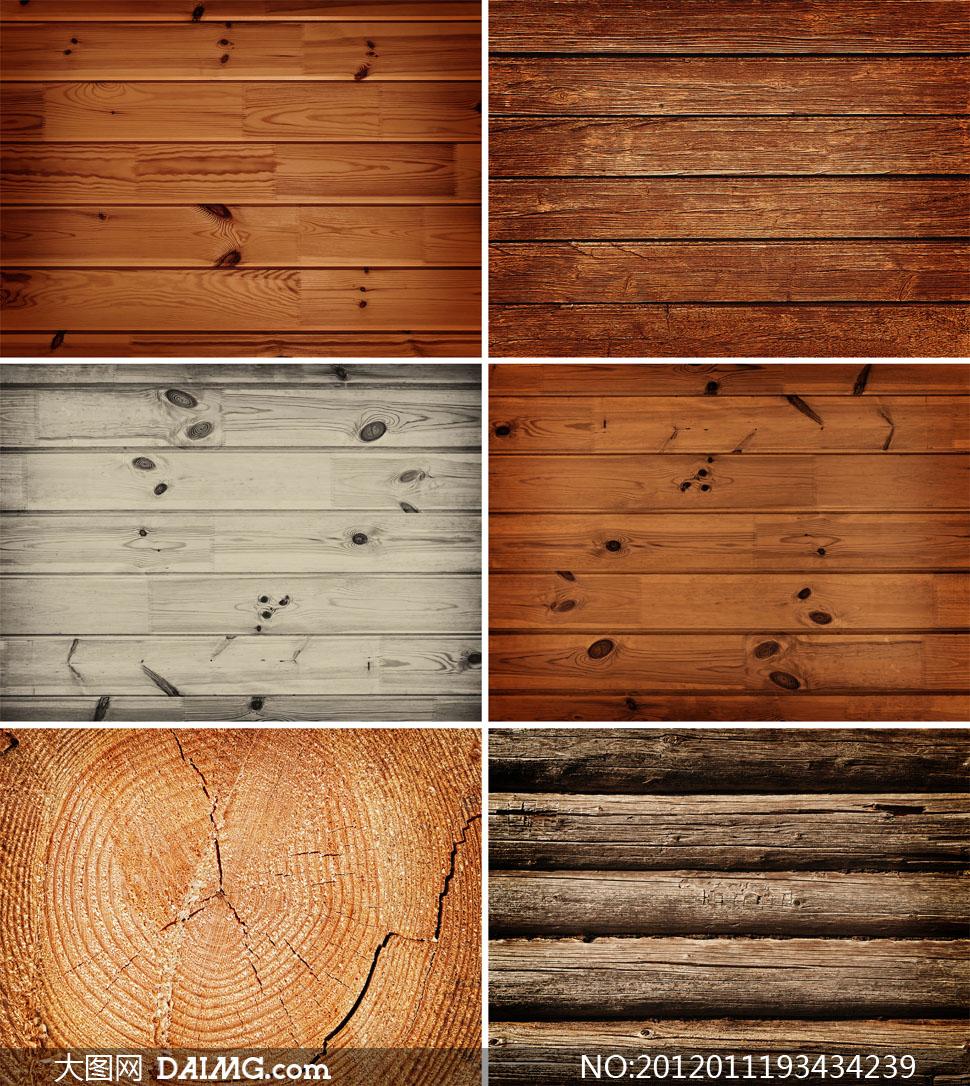 素材摄影图片木纹木板木质材质贴图复古怀旧破旧颓废破损年轮横向棕色