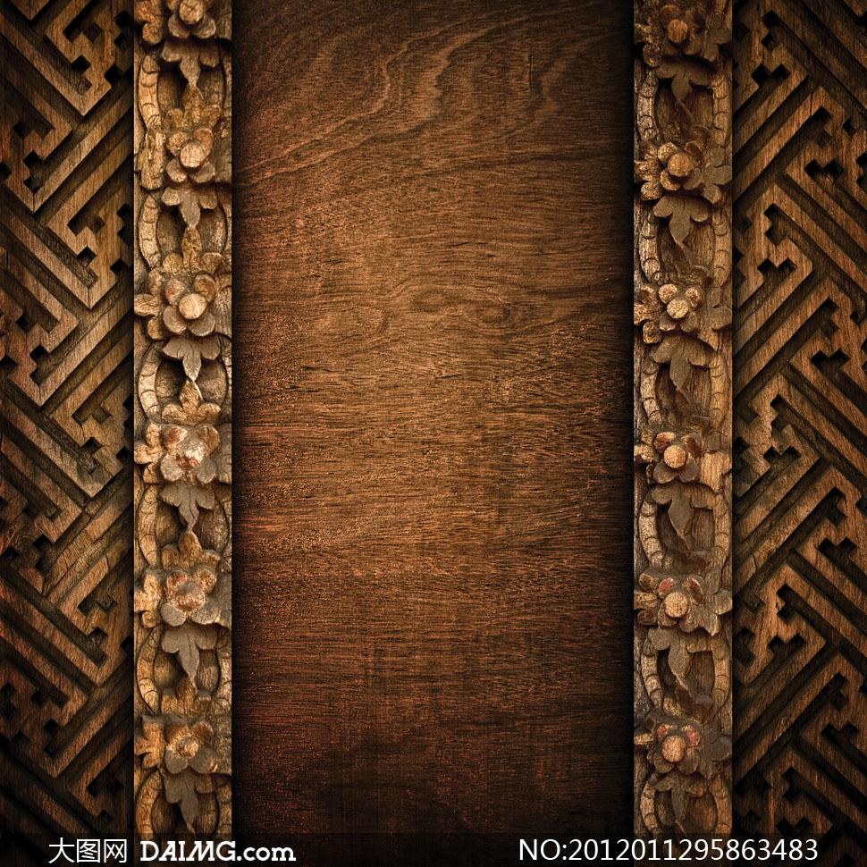大图素材摄影图片木纹木板木质材质贴图复古怀旧雕花
