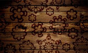 暗角效果木板与花朵图案