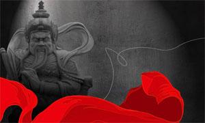 古代人物雕像与红飘带PSD分层素材
