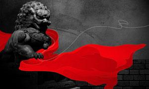 丝线石狮子与红绸子PSD分层素材