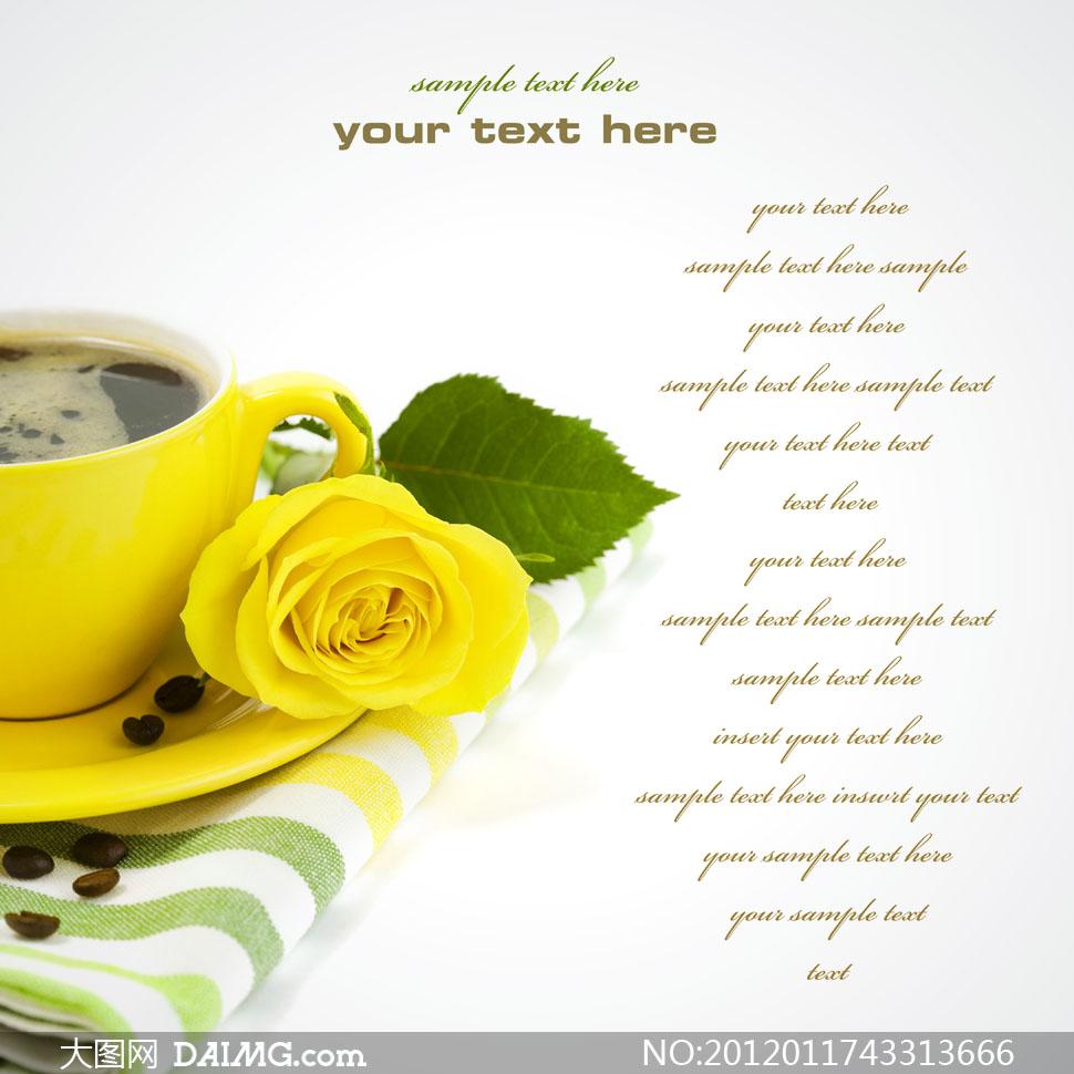 一杯咖啡与黄玫瑰花高清摄影图片