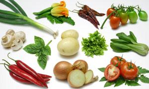 洋葱辣椒土豆等蔬菜高清摄影图片