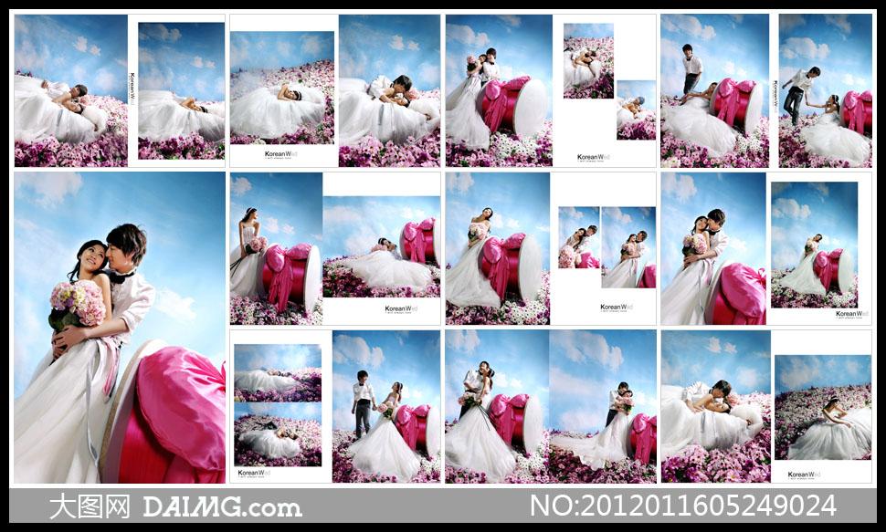 婚纱照摄影样册设计相册设计版式设计版面设计笑容开心幸福甜蜜韩风图片