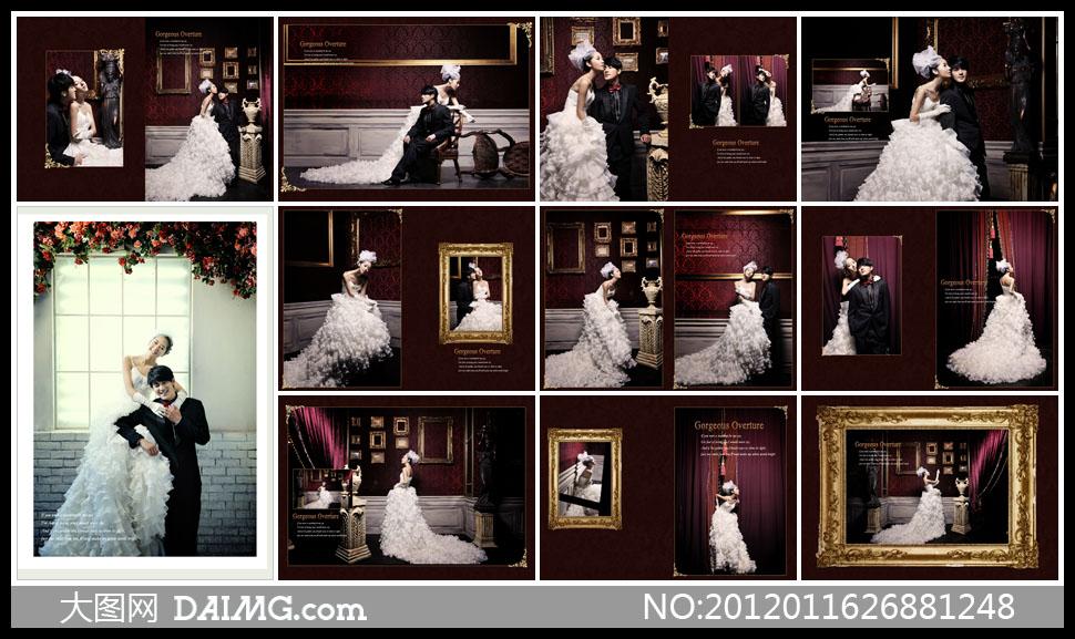 版式设计版面设计婚纱礼服白色婚纱欧式古典内景实景