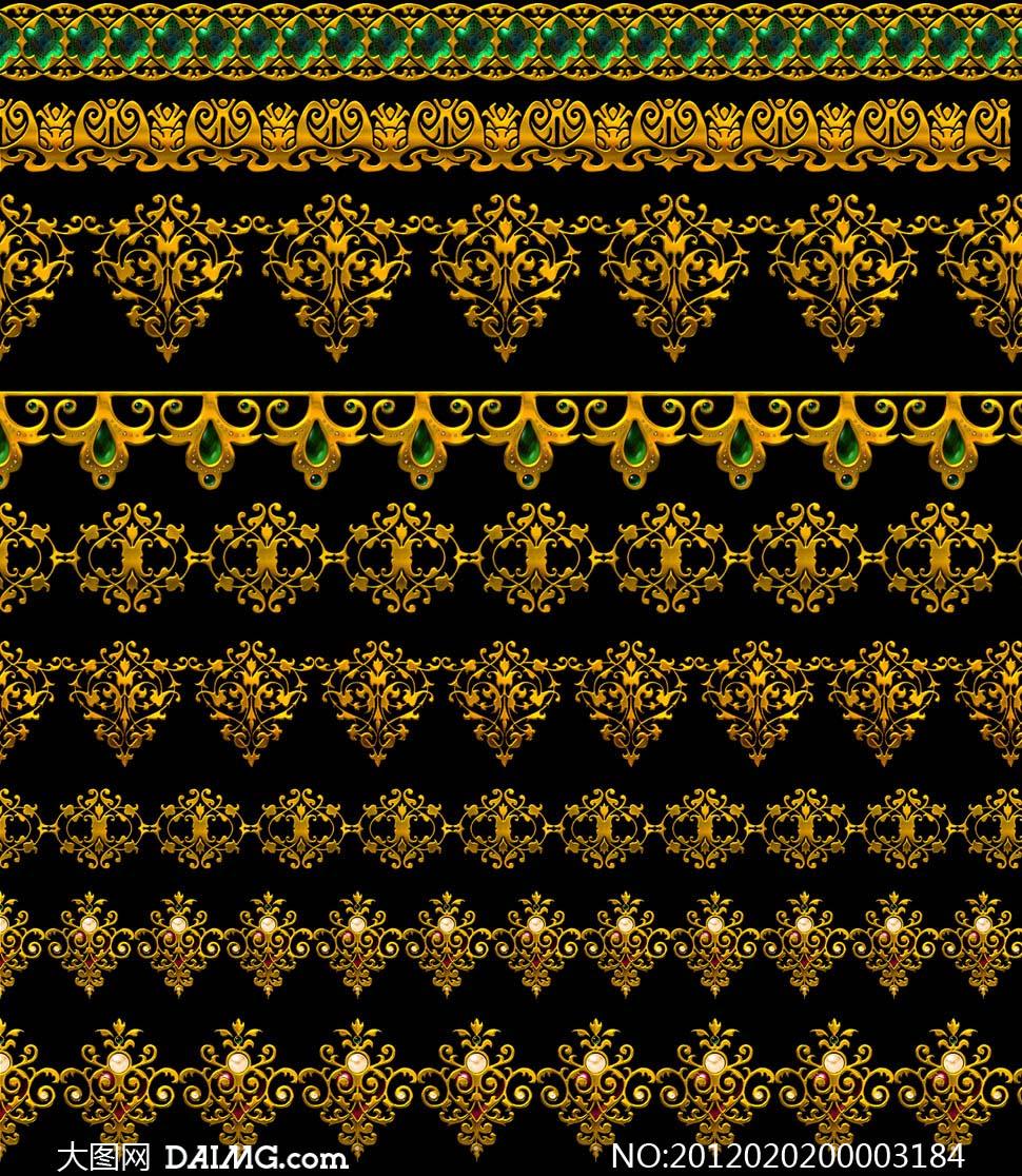 花边欧式复古华丽金色蕾丝psd分层素材源