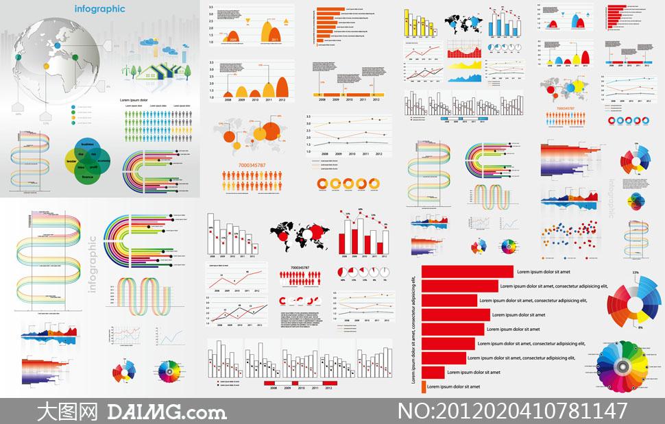 缤纷色彩数据统计图表矢量素材