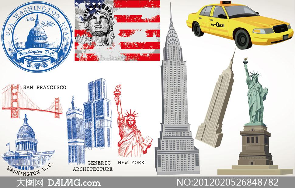 美国标志性建筑物与国旗矢量素材