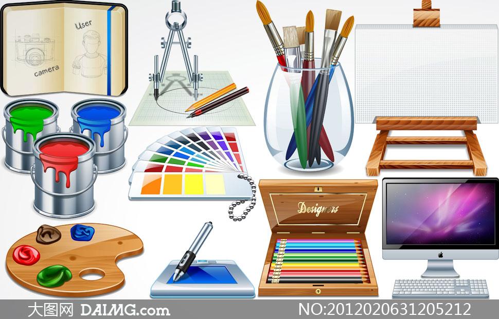 画笔颜料桶油漆桶涂料桶调色板调色盘色卡色板平板