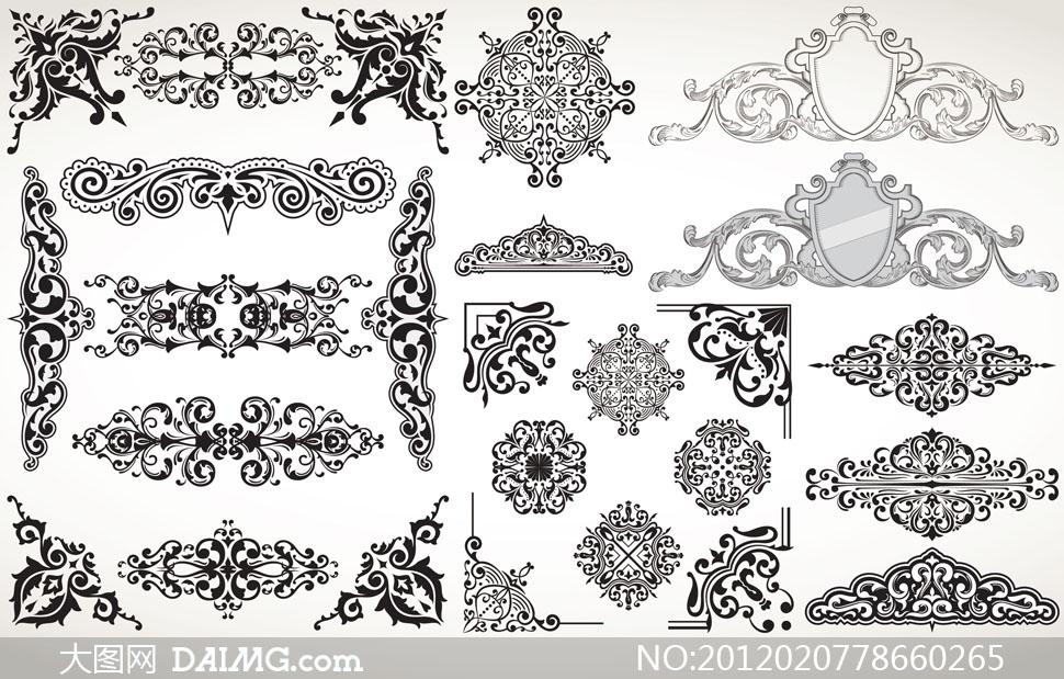 素材欧式古典复古怀旧西方花纹花边装饰花角黑白花纹