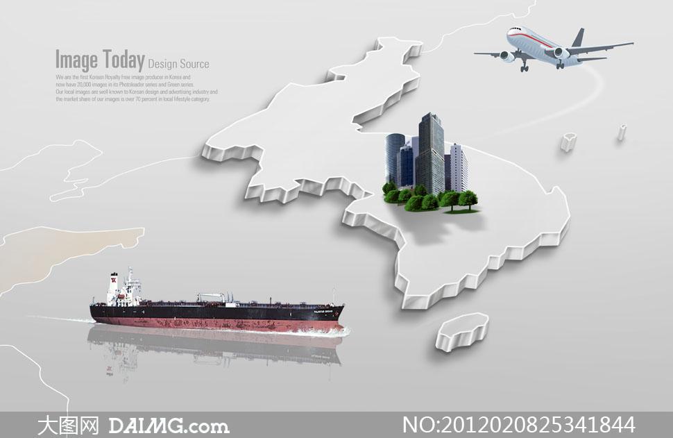psd分层素材韩国素材创意设计国际贸易立体地图船只