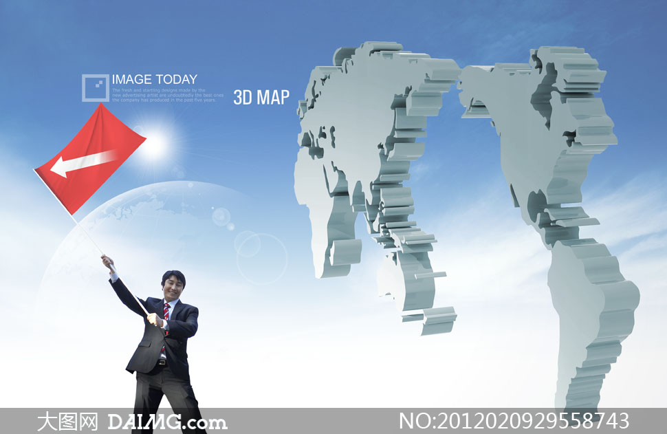 地图人物红旗旗子旗帜地球光芒箭头男人职场西装蓝天白云imagetoday