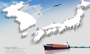 立体地图与集装箱运输船只PSD分层素材