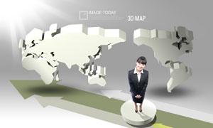 立体世界地图与礼仪小姐PSD分层素材