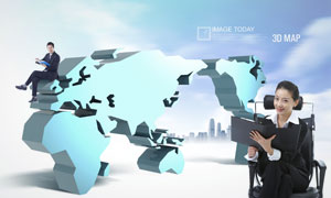 立体世界地图与职场男女人物PSD分层素材