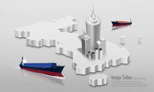 立体地图与建筑物模型PSD分层素材