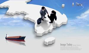 立体地图上握手的商务人物PSD分层素材