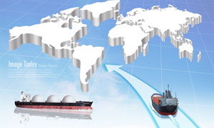 立体地图与货物运输轮船PSD分层素材
