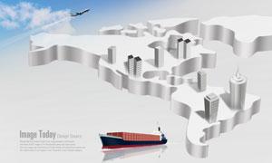 立体世界地图与飞机轮船PSD分层素材