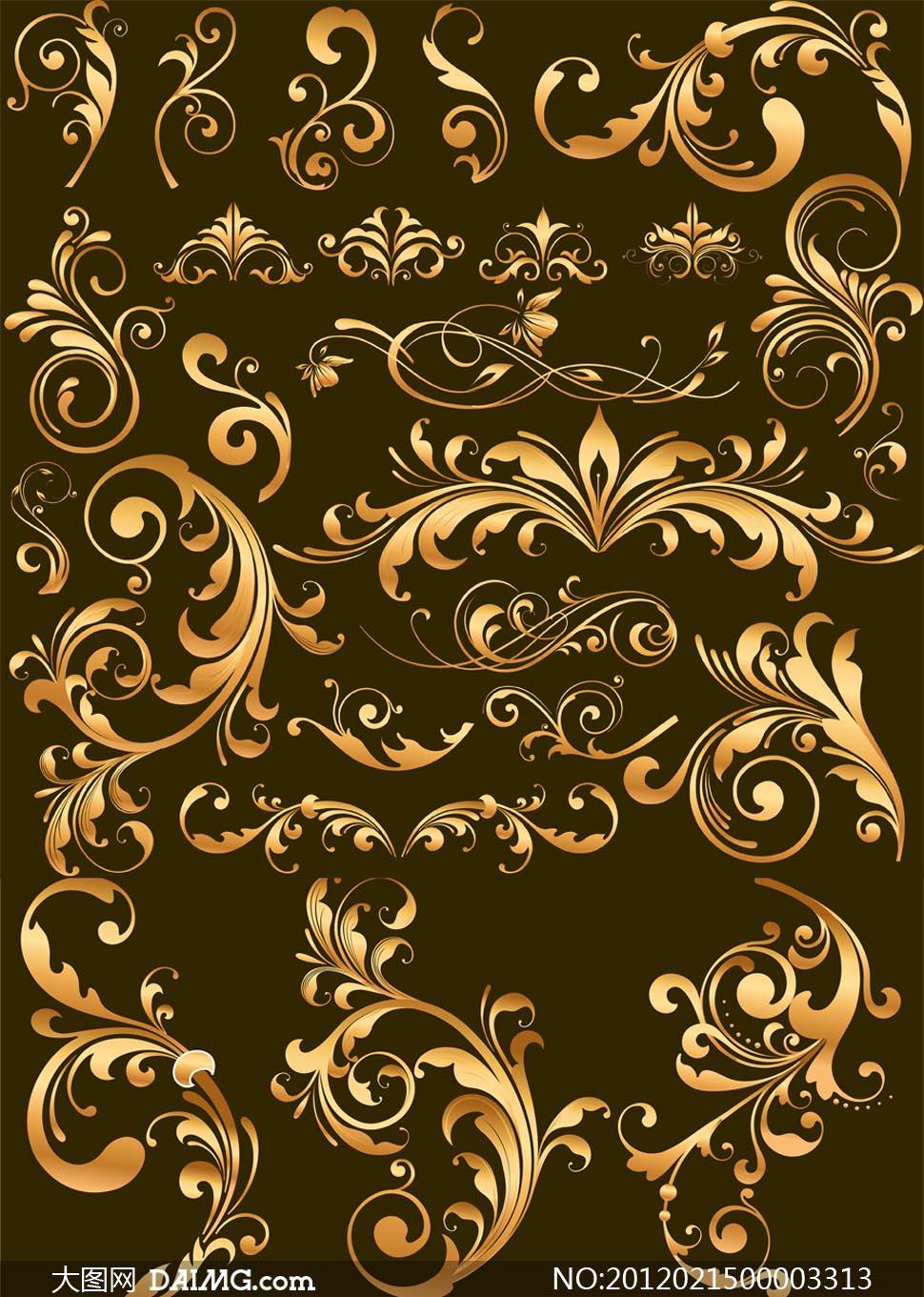 金色花纹笔刷 - 大图网设计素材下载